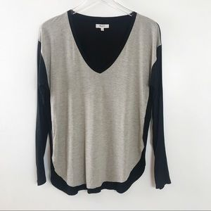 Madewell Anthem Colorblock V-Neck Long Sleeve Top